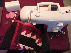 Sewing machine top view of quilting