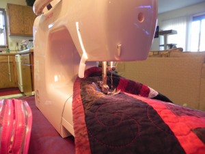 Closeup of sewing machine
