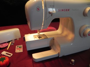 Sewing machine in low light